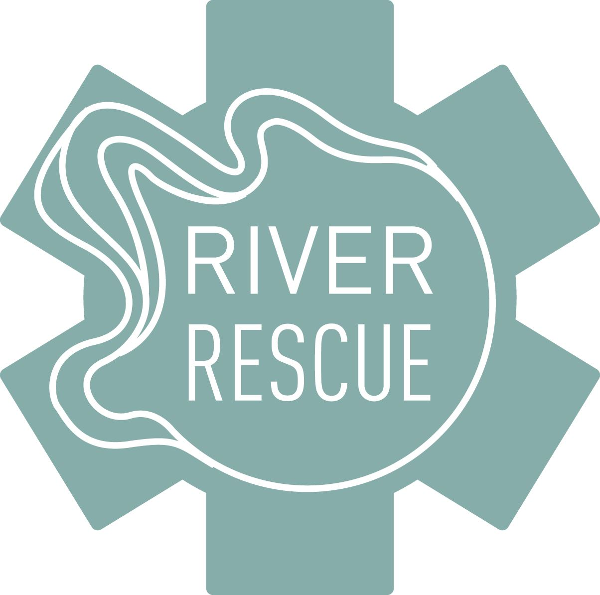 river rescue logo teal medical cross with river type lines