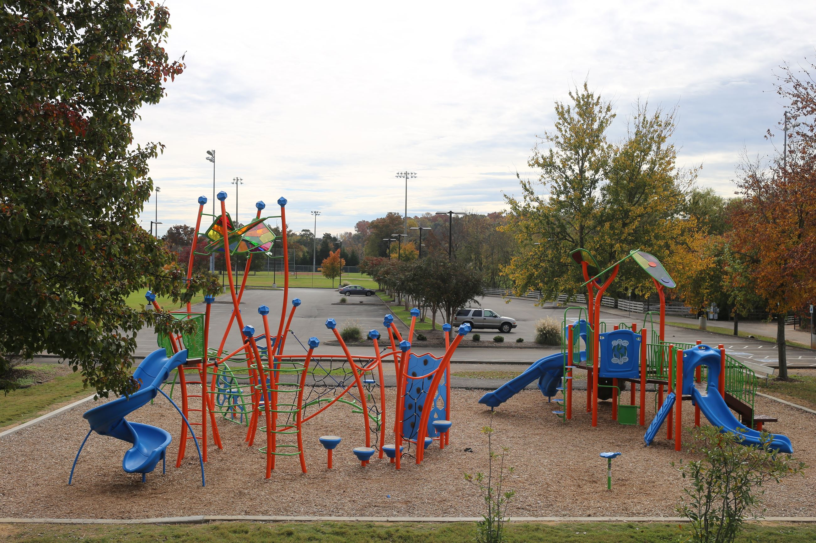 A photo of the colorful playground at Mayor Bob Leonard Park.