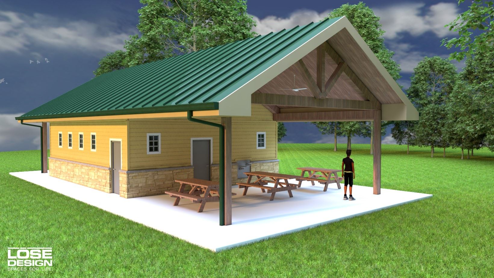 Architectural rendering of back of new restroom at Anchor Park