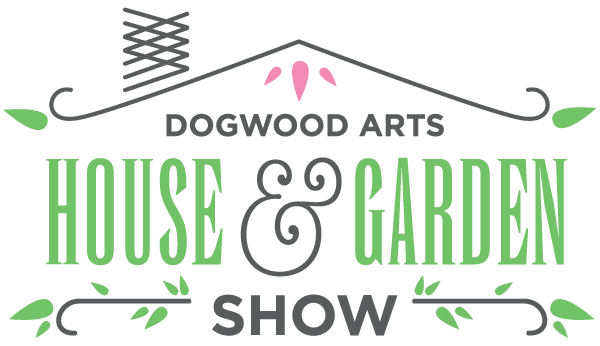dogwood arts house and garden show logo black and green lettering with a line over the top represent