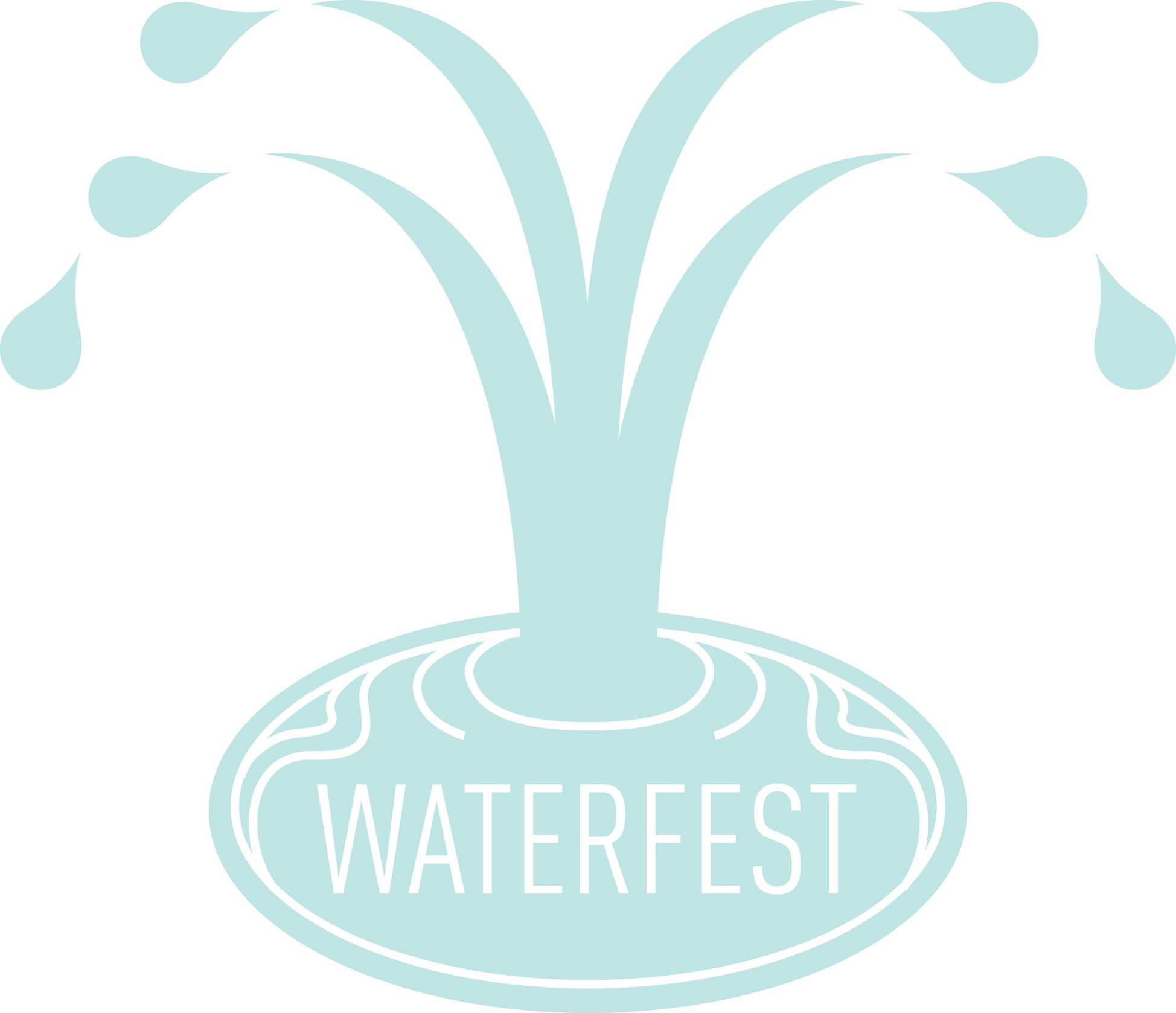 waterfest logo light blue pond with water droplets splashing up like a fountain