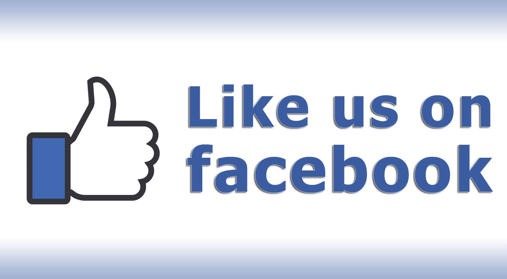 facebook thumbs up with like us on facebook text